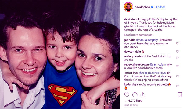 Image of David Dobrik with his parents