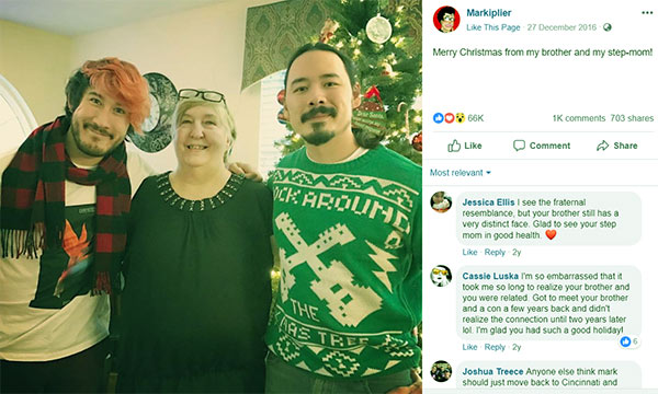 Image of Markiplier with his brother Jason Thomas Fischbach and with step mom