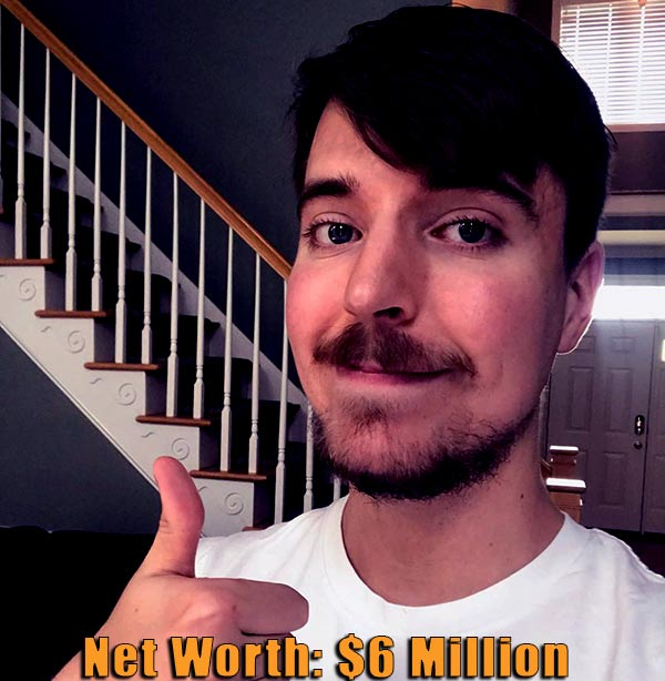 Image of American Youtuber, MrBeast net worth is $6 million